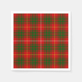 Bruce clan tartan red green plaid disposable serviette