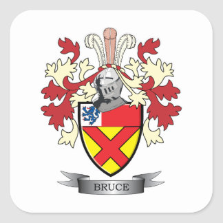 Bruce Family Crest Coat of Arms Square Sticker