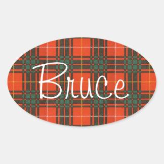 Bruce Scottish Tartan Oval Sticker