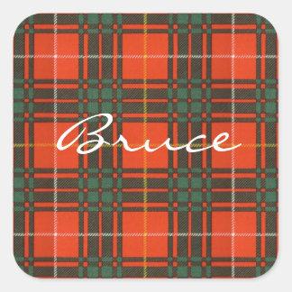 Bruce Scottish Tartan Square Sticker