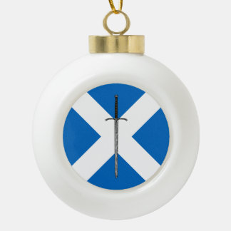 Bruce Sword on Saltire Ceramic Ball Christmas Ornament