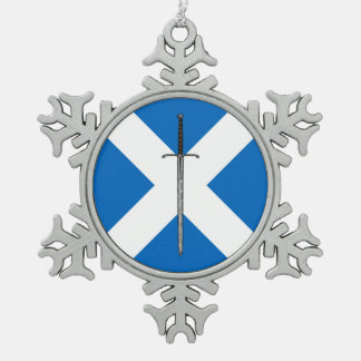 Bruce Sword on Saltire Snowflake Pewter Christmas Ornament