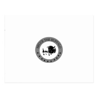 bruce the buffalo black and white logo postcard