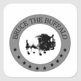 bruce the buffalo black and white logo square sticker