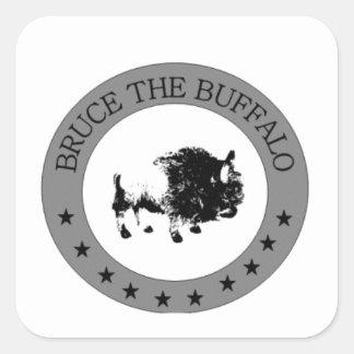 bruce the buffalo black and white logo square sticker