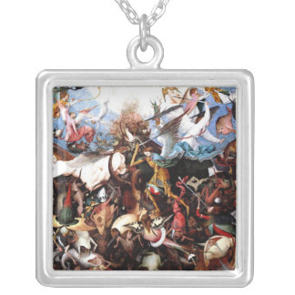 """Bruegel's """"The Fall Of The Rebel Angels"""" (1562) Silver Plated Necklace"""