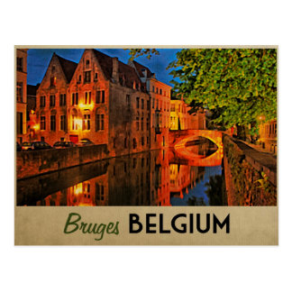 Bruges Belgium At Night Postcard
