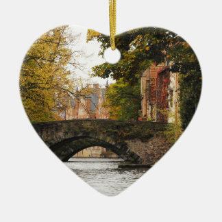 Bruges, Belgium Canals Ceramic Heart Decoration