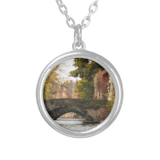 Bruges, Belgium Canals Silver Plated Necklace