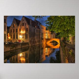 Bruges Belgium Dusk Canal Poster