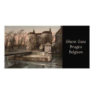 Bruges - Ghent Gate, Belgium Custom Photo Card
