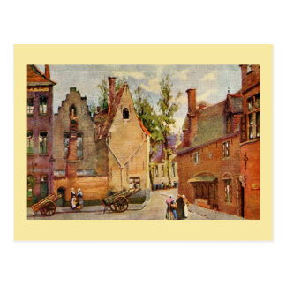 Bruges Place des Tanneurs litho aquarelle Postcard