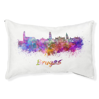 Bruges skyline in watercolor