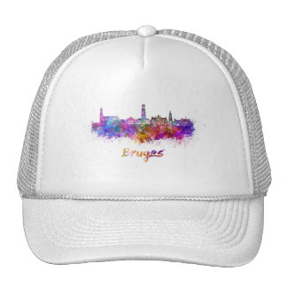 Bruges skyline in watercolor cap