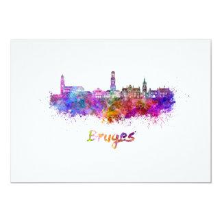 Bruges skyline in watercolor card