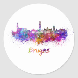 Bruges skyline in watercolor classic round sticker
