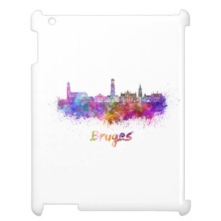 Bruges skyline in watercolor cover for the iPad 2 3 4