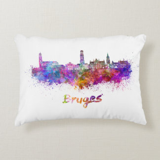 Bruges skyline in watercolor decorative cushion