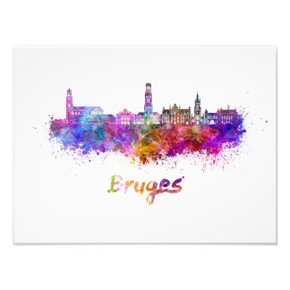 Bruges skyline in watercolor photo print