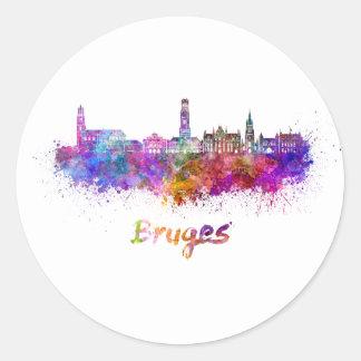 Bruges skyline in watercolor round sticker