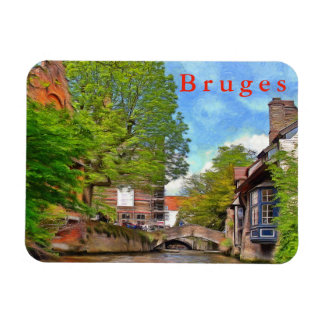 Bruges. Sunny day on the canal. Magnet
