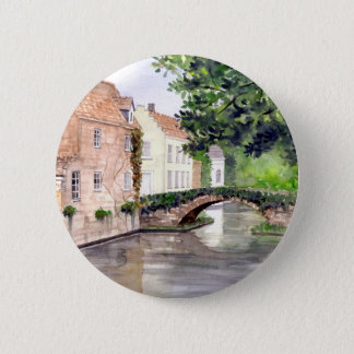 Bruges Watercolor Painting by Farida Greenfield 6 Cm Round Badge