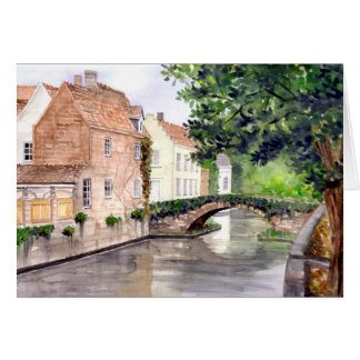 Bruges Watercolor Painting by Farida Greenfield Card