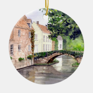 Bruges Watercolor Painting by Farida Greenfield Ceramic Ornament
