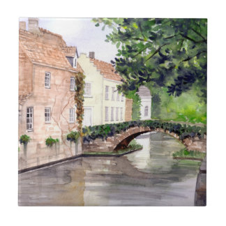 Bruges Watercolor Painting by Farida Greenfield Ceramic Tile