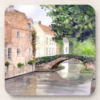 Bruges Watercolor Painting by Farida Greenfield Coaster