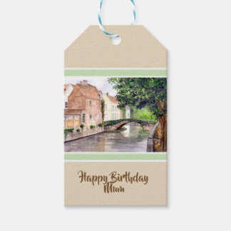 Bruges Watercolor Painting by Farida Greenfield Gift Tags
