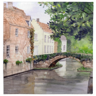 Bruges Watercolor Painting by Farida Greenfield Napkin