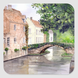 Bruges Watercolor Painting by Farida Greenfield Square Sticker