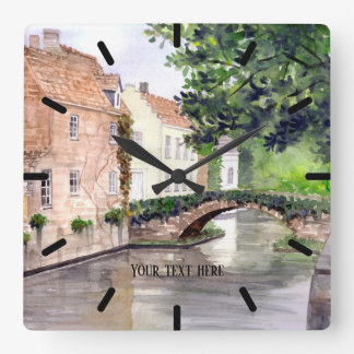 Bruges Watercolor Painting by Farida Greenfield Square Wall Clock