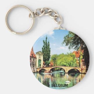BRUGGE, BELGIUM BASIC ROUND BUTTON KEY RING