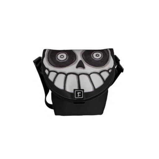 Brujos Locos Skull Messenger Bag - Black