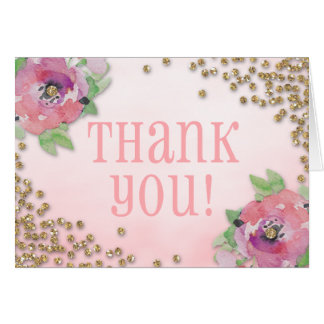 Brunch and Bubbly Bridal Shower Glitter Thank You Card