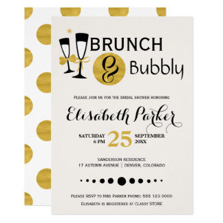 Brunch and bubbly white black gold bridal shower card