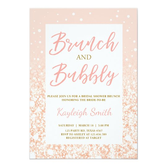 Brunch & Bubbly Bridal shower invitation Pink Gold