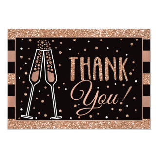 Brunch & Bubbly Shower Thank You Card Faux Glitter