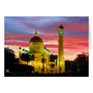 brunei mosque sunset card