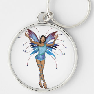Brunette 3D Pixie - Purple & Blue Silver-Colored Round Key Ring