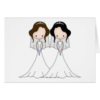 Brunette and Black Haired Brides Lesbian Wedding Card