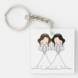 Brunette and Black Haired Brides Lesbian Wedding Double-Sided Square Acrylic Key Ring