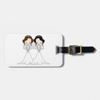 Brunette and Black Haired Brides Lesbian Wedding Luggage Tag