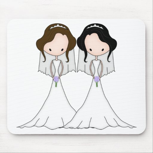 Brunette and Black Haired Brides Lesbian Wedding Mouse Pads