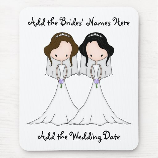 Brunette and Black Haired Brides Lesbian Wedding Mousepads