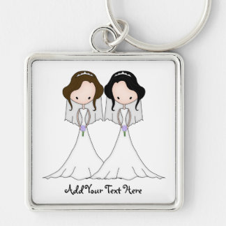Brunette and Black Haired Brides Lesbian Wedding Silver-Colored Square Key Ring