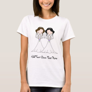 Brunette and Black Haired Brides Lesbian Wedding T-Shirt