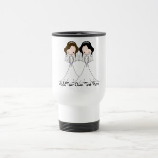 Brunette and Black Haired Brides Lesbian Wedding Travel Mug